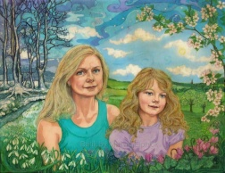 Portrait of mother and daughter, batik on cotton by Marina Elphick