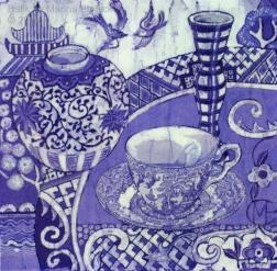 Willow teacup, batik on cotton by Marina Elphick
