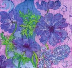 Anemones blue, batik on cotton by Marina Elphick