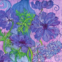 Anemones blue, batik on cotton by Marina Elphick