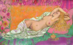 Reclining nude, batik on cotton by Marina Elphick
