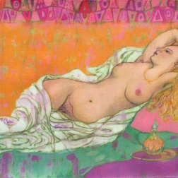Reclining nude, batik on cotton by Marina Elphick