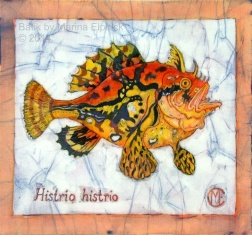 Frog fish, batik on cotton by Marina Elphick