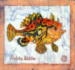 Frog fish, batik on cotton by Marina Elphick