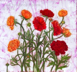 Red Ranunculus, batik on cotton by Marina Elphick
