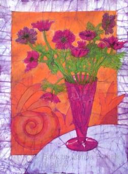 Magenta Anemones, batik on cotton by Marina Elphick