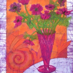 Magenta Anemones, batik on cotton by Marina Elphick