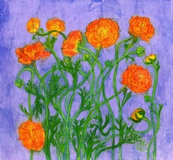 Orange Ranunculus , batik on cotton by Marina Elphick