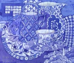 Blue mix, batik on cotton by Marina Elphick