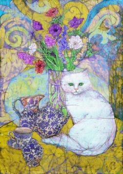 White cat and Tea set , batik on cotton by Marina Elphick