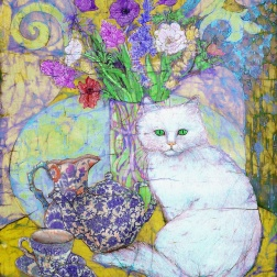 White cat and Tea set , batik on cotton by Marina Elphick