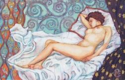 Edwardian nude, batik on cotton by Marina Elphick