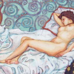 Edwardian nude, batik on cotton by Marina Elphick