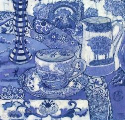 Spode still life, batik on cotton by Marina Elphick