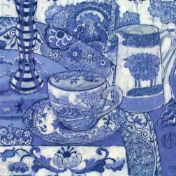 Spode still life, batik on cotton by Marina Elphick