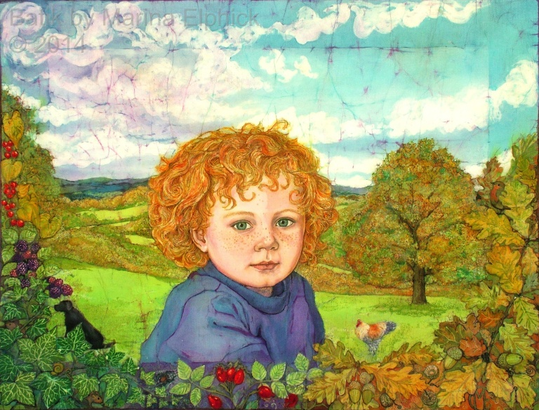 Batik portrait by British artist Marina Elphick,  batik artist making contemporary batik. Commissioned batik of boy in his garden and landscape beyond.