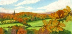 Rotherfield landscape in Autumn , batik on cotton by Marina Elphick