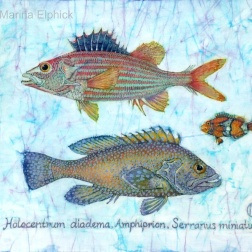 Clown Anemone fish with others, batik on cotton by Marina Elphick