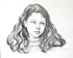 Drawing for batik Portrait of Amy, by Marina Elphick