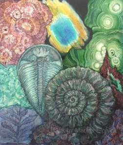Labradorite and fossils, batik resist on paper by Marina Lphick