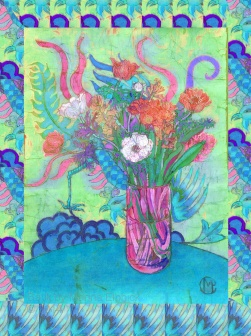 Batik made into a greeting card design, with photoshop border, By Marina Elphick