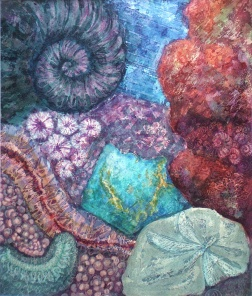 Azurite and Hematite, batik wax resist on paper by Marina Elphick