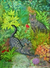 Portrait of Bonny and Clyde, batik on cotton by Marina Elphick
