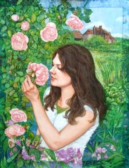 English Rose, batik on cotton by Marina Elphick