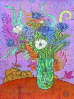 Anemones and Chinese screen, batik on cotton by Marina Elphick