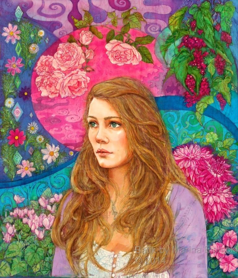 Bobby, commissioned portrait in batik, by British artist Marina Elphick. Batik artist known for her life like portraits.