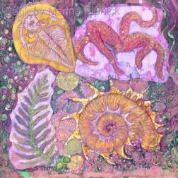 Aquatic Fossils, batik on cotton by Marina Elphick