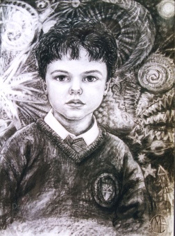Charcoal drawing of a young Edmund By Marina Elphick