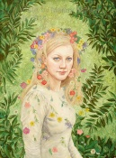 Batik Portrait of Cathy by Marina Elphick Batik on paper