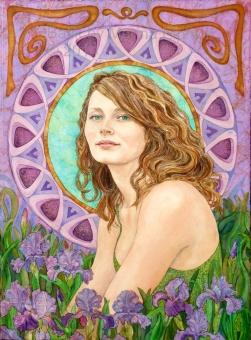 Batik Portrait of Jodie by Marina Elphick Batik on paper