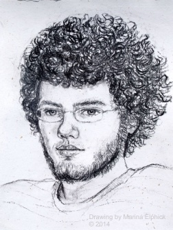 Charcoal drawing of Edd on paper, by Marina Elphick