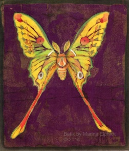 Luna moth, batik on cotton by Marina Elphick