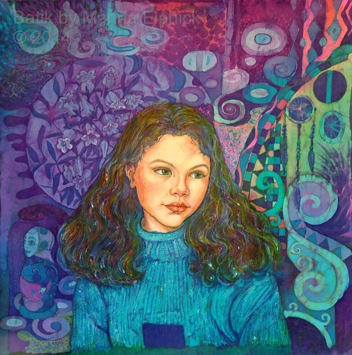 Portrait of Amy by contemporary batik artist Marina Elphick. British artist known for her exquisite portraits of children in this classic Indonesian art medium, batik art.