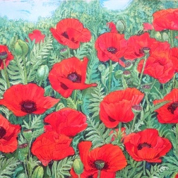Poppies, Batik on paper by Marina Elphick