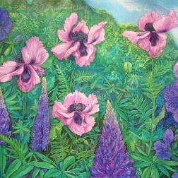 Lupins and poppies, Batik on paper by Marina Elphick