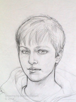 Pencil drawing on cotton, preparation for batik portrait by Marina Elphick