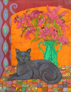 Patchwork cat and lilies , batik on cotton by Marina Elphick