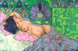 Green Nude, batik on cotton by Marina Elphick