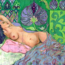 Green Nude, batik on cotton by Marina Elphick