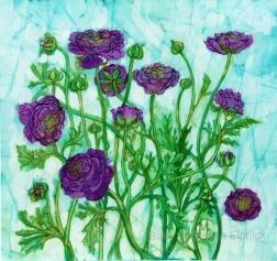 Purple Ranunculus, batik on cotton by Marina Elphick, UK batik artist and painter.