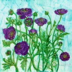 Purple Ranunculus, batik on cotton by Marina Elphick, UK batik artist and painter.