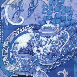Willow still life , batik on cotton by Marina Elphick