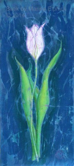 White Tulip on blue , batik on cotton by Marina Elphick
