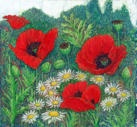 Poppy garden with daisies, batik on cotton by Marina Elphick.#batik artist working on cotton and paper creating #batik portraits and other unique batik artworks.
