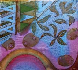 Batik sketch, two dyes