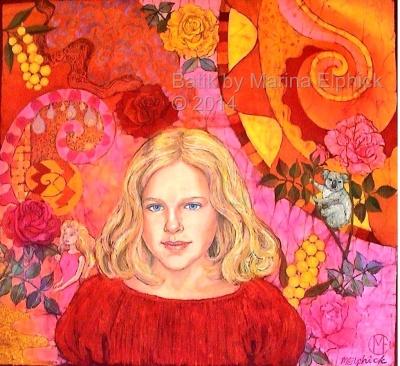 Step by step batik. #Batik portrait of Sophie by #British batik artist Marina Elphick.